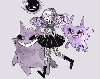Little Ghost Pokemon Girl • Print