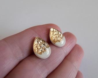 White Gold Drop Stud Earrings - Hypoallergenic Titanium Posts