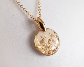 White Gold Circle Necklace -- Gift for Her