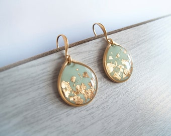 Mint gold Dangle Earrings - Gift for Her - Bridesmaid Gift