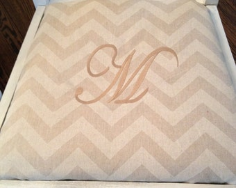 Chevron Monogrammed chair seat covers