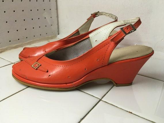Vintage 1940's 1950's WEDGES summer shoes sandals