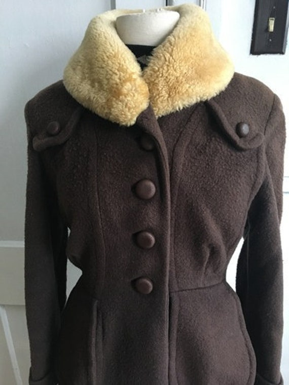 ORIGINAL VINTAGE 1940s 1950s fitted Wool COAT Brow