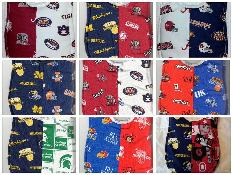 94cb9b66d Handmade House Divided Baby Bibs made with NCAA fabric | Etsy
