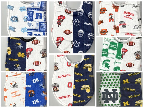 Handmade House Divided Baby Bibs made with MLB fabric
