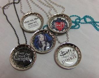 Buffy the Vampire Slayer bottle cap necklace