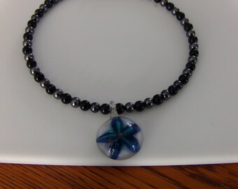 Grey and Dark blue choker with blue flower pendant