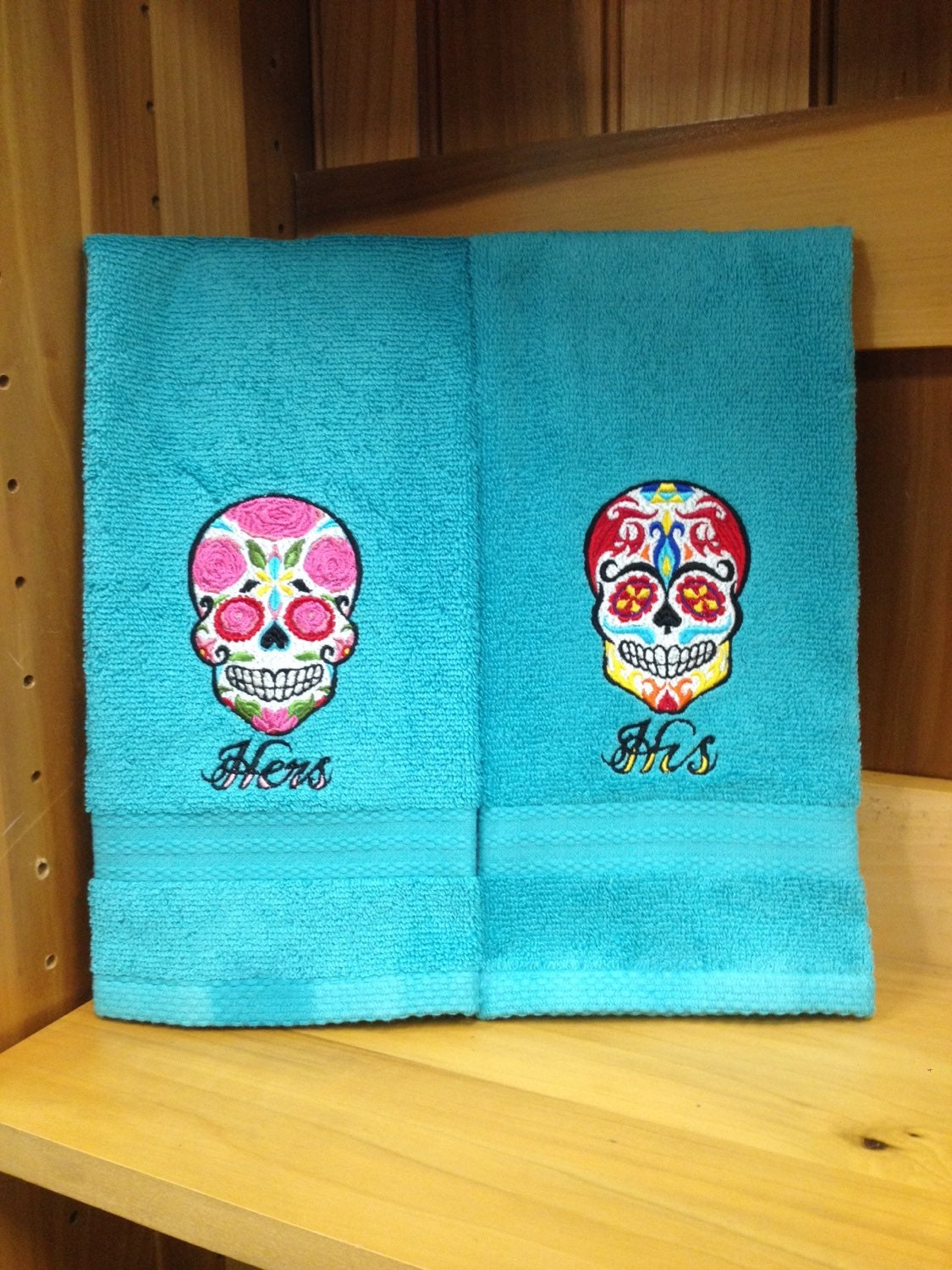 Sugar Skull His & Hers Hand Towel Set | Etsy
