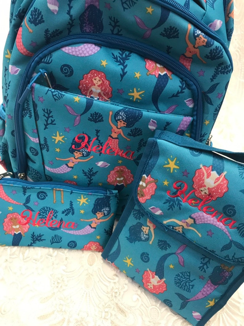2892de17ff19 Mermaid Backpack, Lunch Bag, and Pencil Pouch Set