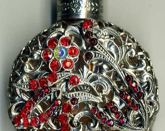 Bohemia Glass Perfume Bottle - red glass silver filigree bow with red and iridescent stones PB 411