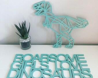 Geometric Dinosaurs   Wooden Dinosaurs   Dinosaur Decor   Nursery Wall Art    Childrens Bedroom Decor