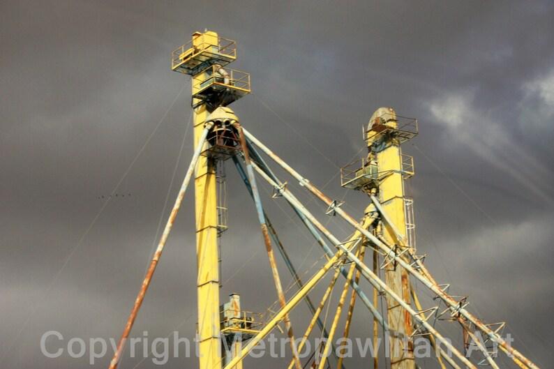 8x10 photograph Storm clouds over grain elevators image 0
