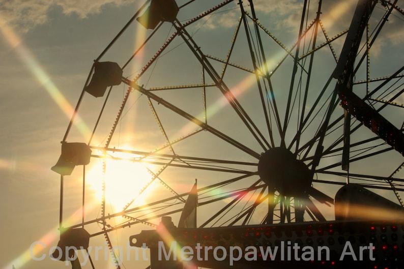 8x10 Photograph Carnival Ferris Wheel Sunset 259 image 0