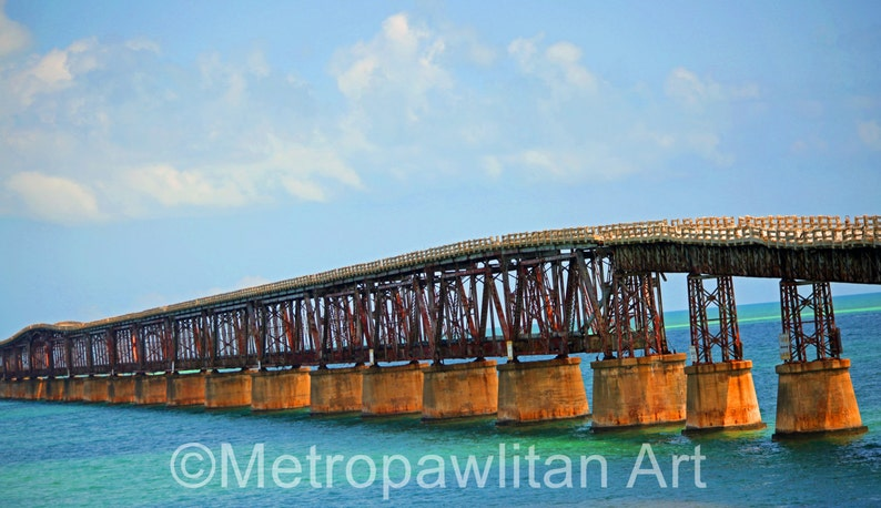 8x10 photograph Florida Keys Ocean Train Trestle image 0