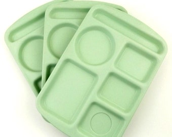 Vintage School Lunch Trays Prolon Ware Melamine Set of 3 in Light Green