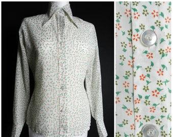 Sale 70s floral DAGGER collar fitted disco shirt white peach brown + green slimline U.K. 10 - 12 sm