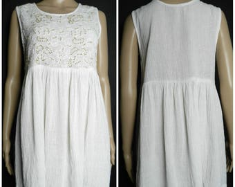 0f17e675b72f Sale 70s 80s INDIAN COTTON white cheesecloth gauze babydoll mini dress  smock top embroidered chest with tiny wooden beads M ~ L
