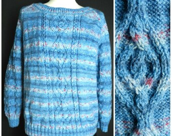 70s ACRYLIC space dye HAND KNITTED crew neck sweater jumper blue pink grey yellow M