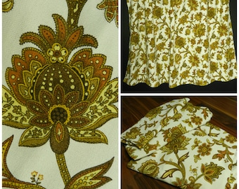 60s 70s paar voor vintage heavy gauge katoen witgoud bruine bloemen gordijnen retro gordijnen paisley gordijnen 55 x 66