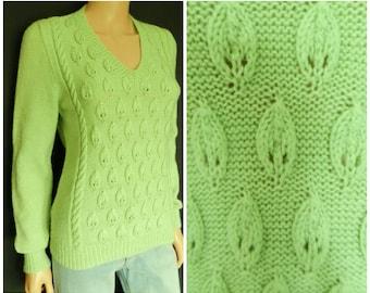 6925ed400e23 SALE 70s acrylic apple green white stripe embroidered sweater