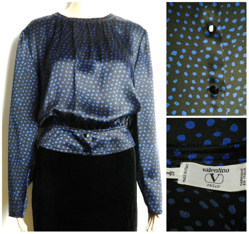 69ad49c1eece7a 80s VALENTINO miss V minimalist silk blouse black with blue
