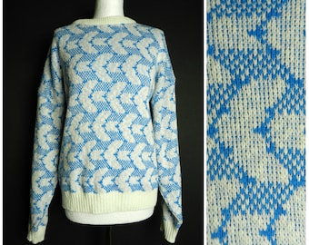 80s acrylic +cotton china blue + white geometric sweater jumper crew neck oversized sweater M ~ L