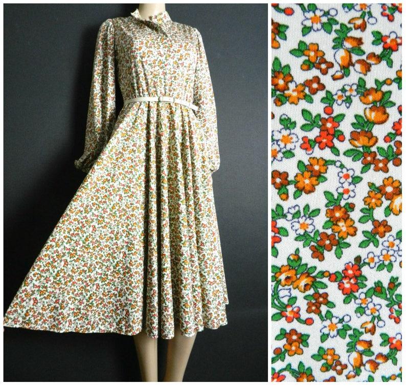 d14f7240dad 70s polyester knit floral tea dress white orange rust brown