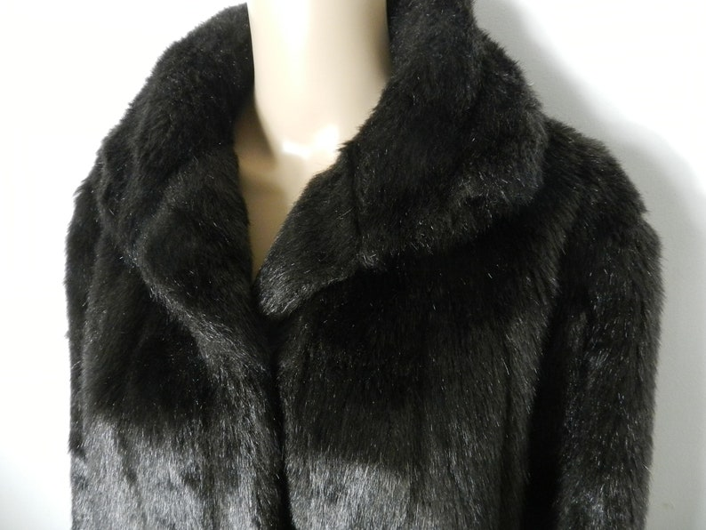 80s 90s dark chocolate brown faux fur faux mink winter coat Oversized collar longline L ~ XL