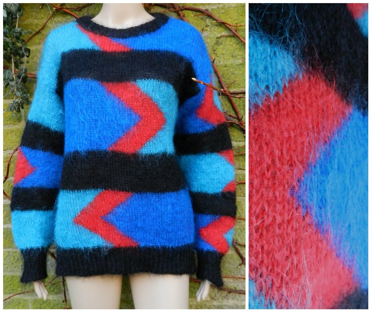 8e0ae535e82e89 80s Mohair wool crew neck oversized sweater / jumper bold   Etsy