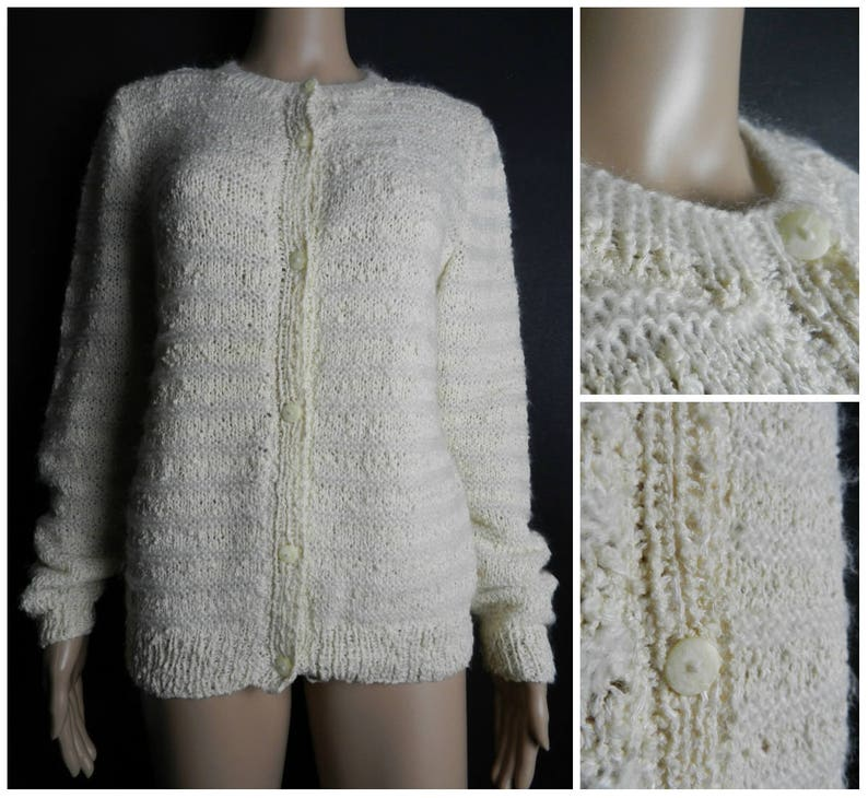 15d3288cabbc99 60s 70s hand knitted fuzzy acrylic cream cardigan open knit | Etsy