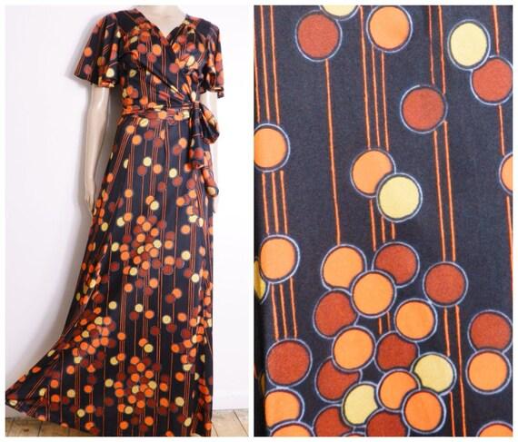 70s high waist maxi skirt + matching wrap top flu… - image 1