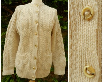 70s WOOL hand knitted cream cable aran knit cosy cardigan pockets M