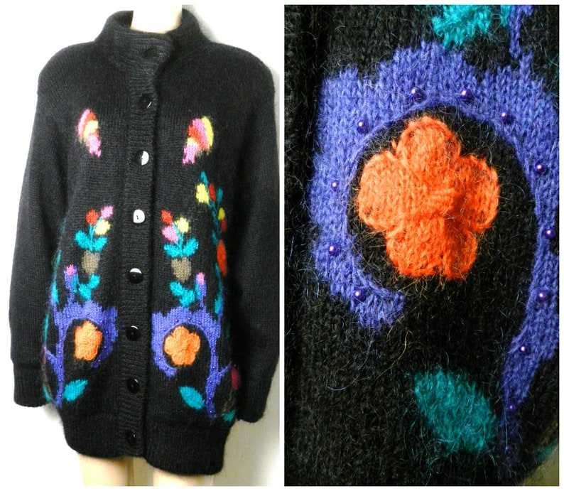 0352e2430ad46e 80s 90s oversized MOHAIR beaded cardigan in black with 3D   Etsy