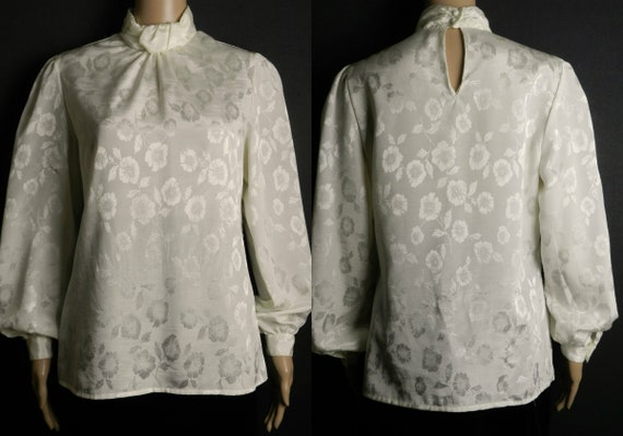 321dc53f65bcf9 70s 80s high neck pale cream blouse in silky DAMASK floral | Etsy