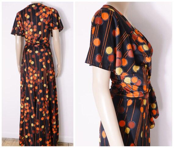 70s high waist maxi skirt + matching wrap top flu… - image 8