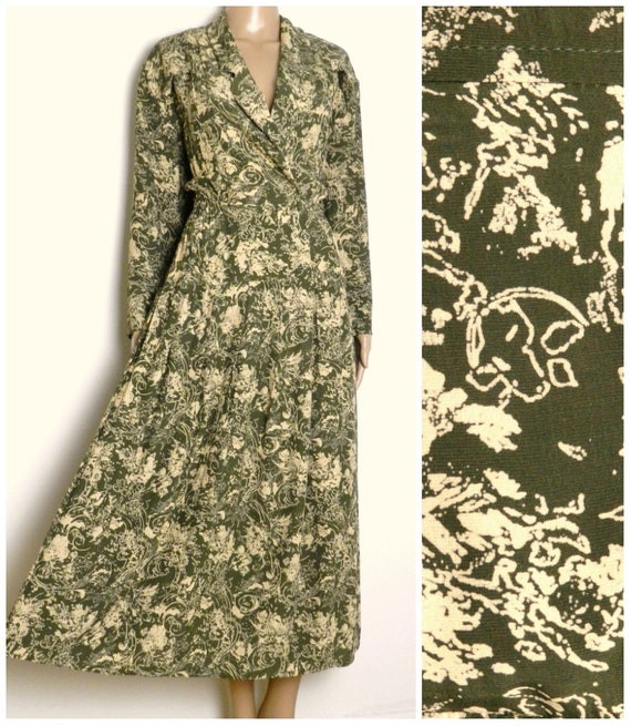 80s does 40s double breasted calf length tea dress