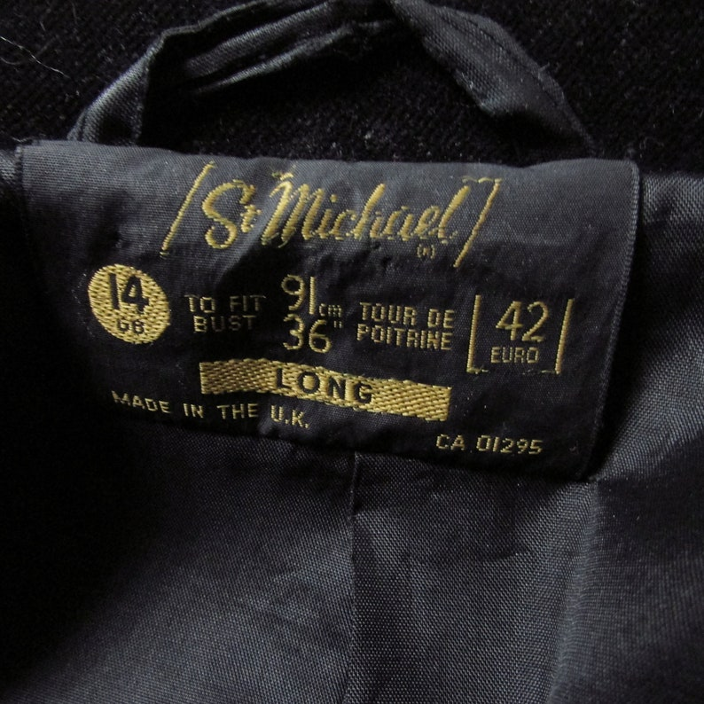 12-14  36-38/'/'bust 60s 70s FITTED BLACK cotton velvet jacket MASSIVE lapels U.K
