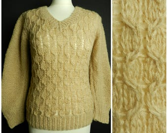 SALE 70s ACRYLIC cable knit v neck ribbed sweater jumper open weave front taupe beige SM ~ M