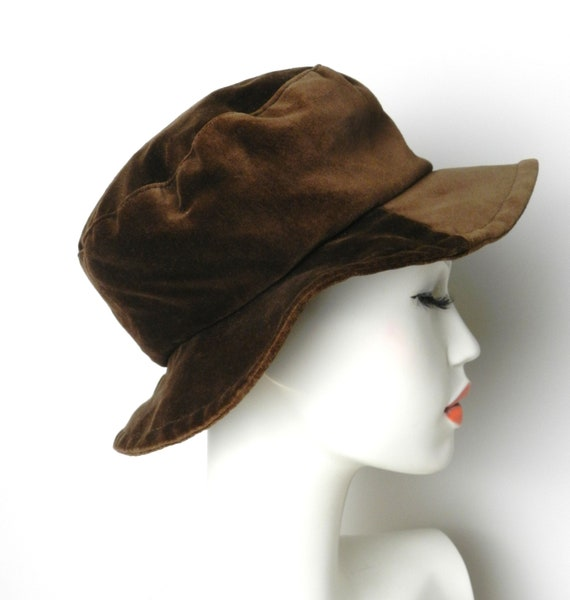 60s 70s chocolate brown cotton velvet bucket hat cloche floppy  0ba240317b4