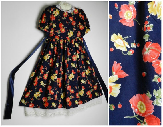 80s 90s cotton little girls dress age 11 , 12 navy blue red orange + pale  yellow POPPY floral print puff dolly sleeves lace collar