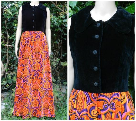 cf9b703ac0ad des années 60 en coton maxi robe en velours par Debenham et