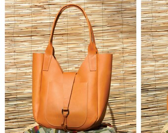 Lucy Leather Hobo Tote - Handmade Leather Shoulder Bag - Leather Tote - Leather Purse