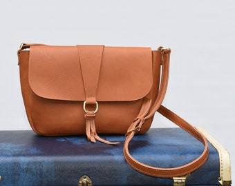 Penny Leather Crossbody Bag - Leather Purse - Leather Crossbody Bag - Handmade Leather purse / Leather Shoulder bag /