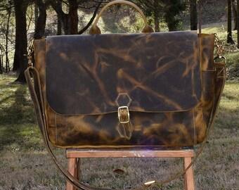 Emerson Leather Messenger Bag- Men's leather bag - handmade leather messenger bag - leather computer bag