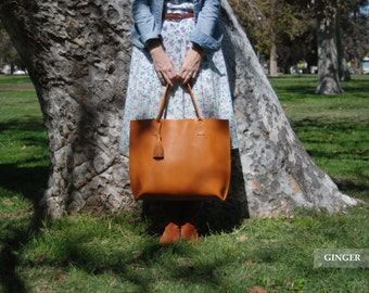 Everyday Leather tote bag-  Large Leather Tote  //  Handmade Leather Bag