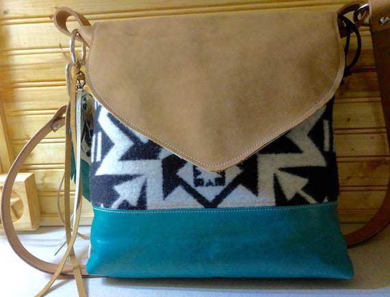 Native American Style Leather Purse Pendleton Wool Fabric  19a5cf61bb6f6