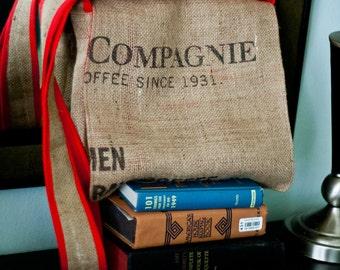 "Repurposed Jute Coffee Sack Messenger Bag - ""Compagnie"" by FanGirl. SuperHero."