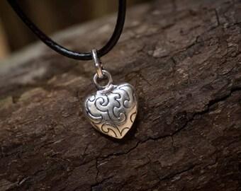 Tibetan Silver Heart Pendant On Black Cord Necklace