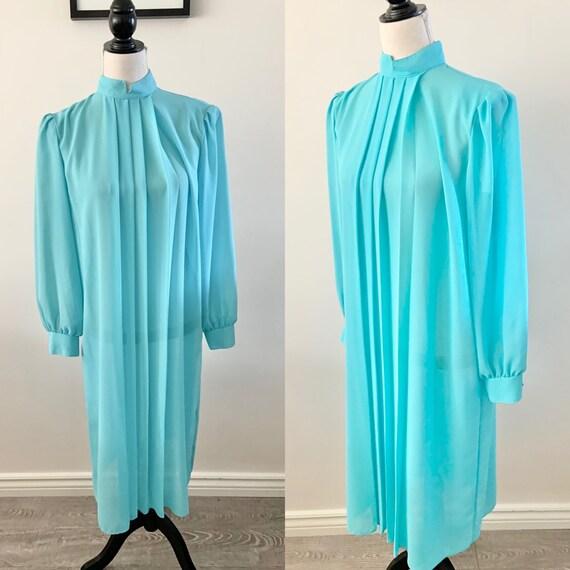 Blue Chiffon Dress, Vintage Chiffon Dress, Vintag… - image 1
