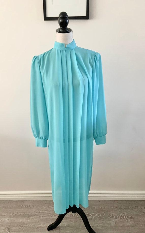 Blue Chiffon Dress, Vintage Chiffon Dress, Vintag… - image 10